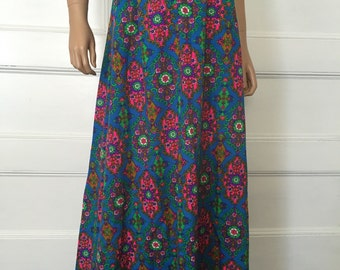 Vintage 60s Psychedelic Skirt - 1960's Retro Skirt - Boho Skirt - Hippie Maxi Skirt - 60's Festival Skirt