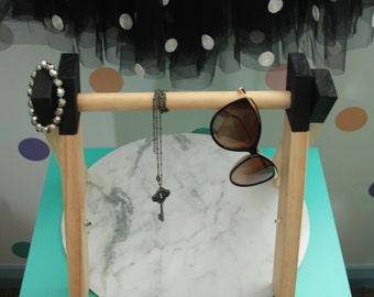 Handcrafted timber mini jewellery / accessory rack - Black