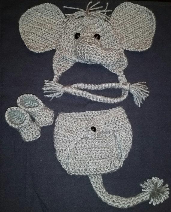 Crochet Newborn Elephant Outfit Baby Girl or Boy Safari