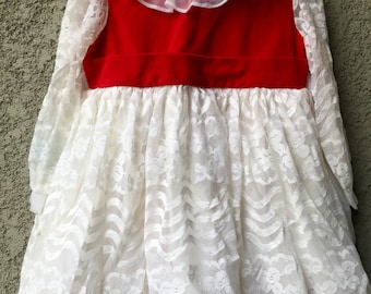 Red velvet and white lace baby dress