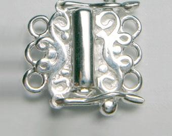 Fermoir tube en argent, mèche de 3 rangées de collier bracelet, balinais Bali triple fermoir concepteur en ligne pendents 925