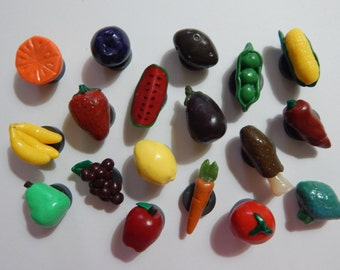 Set of 18: Fruit and Vegetable Variety Magnets, Handmade from Polymer Clay