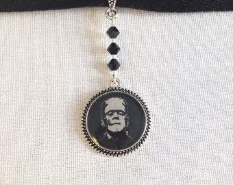 Frankenstein Resin Pendant, Ribbon Pendant Choker with Swarovski Crystals