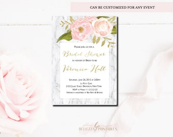 Marble Bridal Shower Invitation-Pink & Digital Gold Foil Bridal Shower invitations- Modern Shower invites-Digital File or Printed Cards-BS35