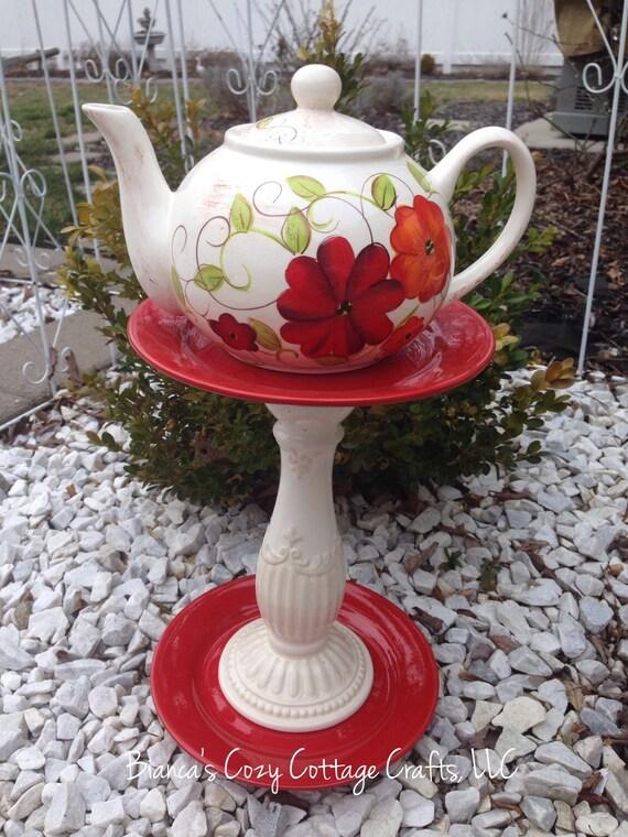 Teapot Whimsy Birdbath Birdfeeder Garden Totem Garden