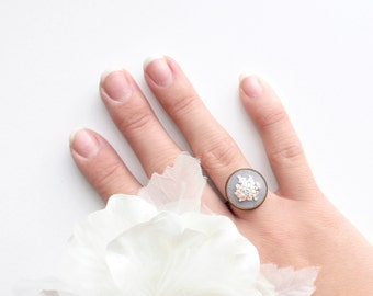 Flower Statement Ring. Adjustable Floral Fabric Ring. Embroidery Jewelry. Bridesmaid Proposal. Gift for Her/Friend/Mom. Wedding Party Gifts.