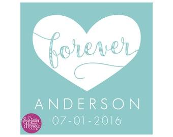 Custom Wedding Gift - Personalized Art Print - Wedding Gift Last Name Establish - Bridal Shower Gift - Unique Wedding Gift - Forever