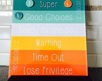 Printable Behavior Chart, DIY kids magnet clip chart, home school color coded toddler behavior reward sign, customizable INSTANT DOWNLOAD