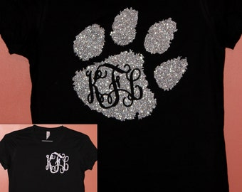 Glitter Monogram Clemson Football Shirt Women / Youth / Toddler