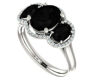 Oval Black Spinel & Diamond Halo Three Stone Engagement 14k White Gold, 9x7mm and 6x4mm Oval Black Spinel Gemstone, Gemstone Rings for Women