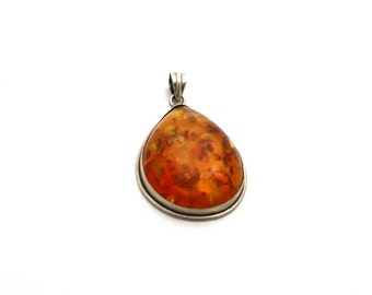 Amazing Amber  925 Sterling Silver Pendant Orange By AmoreIndia