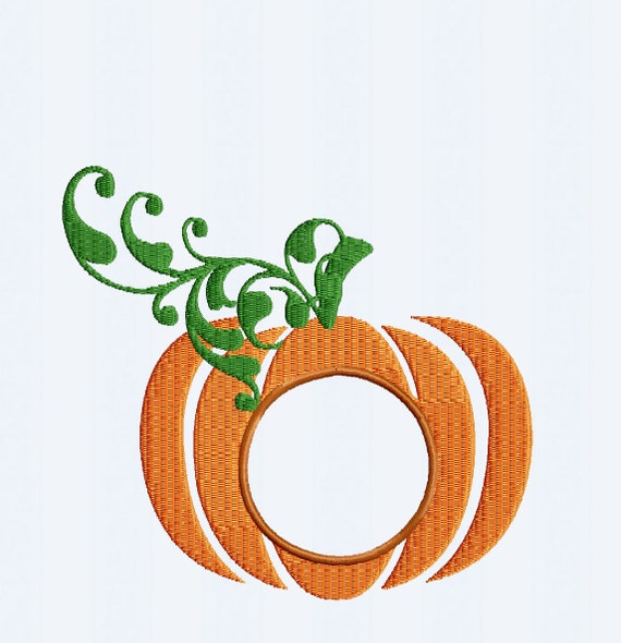 Pumpkin embroidery monogram frame thanksgiving fall instant