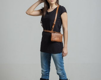 """Leather body harness with a purse, leather harness """"Airport rush"""""""