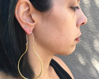 Forged Earrings, Brass hoops, Large Sculpted Earring, Contemporary Earrings, Bold Women, Hand Forged, Unique Jewelry, Statement Piece, Large
