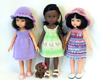 """Knitting pattern for three Sundresses and Hat for Paola Reina doll (12""""/32 cm) and Corolle Les Cheries doll (13""""/33cm)."""
