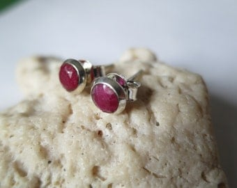 Ruby stud earrings; 92.5 sterling silver, faceted gemstone, free shipping
