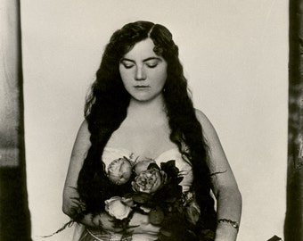 Bellocq Photo, Storyville Prostitute with Flowers, New Orleans, 1910-1915