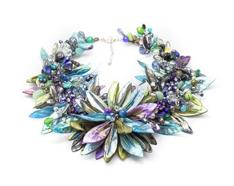 Cool color flower necklace