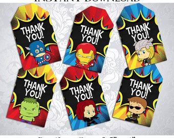 50% OFF SALE Thank you Tag Tags Avengers SuperHeroes Super Heroes Superhero Super hero, Instant download, pdf jpg