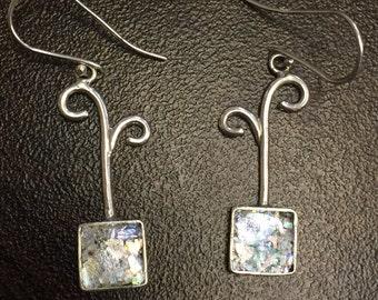 Roman Glass Sterling Silver Earrings