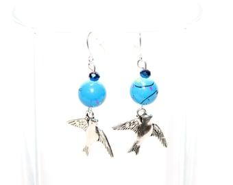 Silver Bird Charm Earrings - Pewter Charm Earrings - Beaded Bird Earrings - Bird Lover Jewelry
