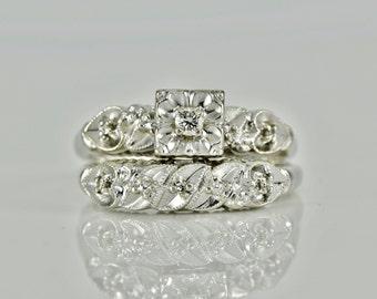 Beautiful Wedding Set, Antique/Vintage Art Deco Diamond Engagement and Wedding Rings, 14K  White Gold LB243