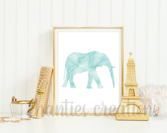 Elephant Mint Watercolor Printable Wall Art. Nursery Animal Decor. Safari Printable Wall Art.