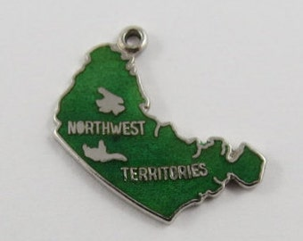 Map of the Northwest Territories With Green Enamel Sterling Silver Vintage Charm For Bracelet