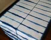 Shibori indigo dyed cotton table runner