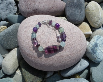 Fluorite and Amethyst  Bracelet