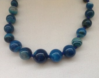 SALE... Blue Agate set. Shaded blue Agate necklace and earrings set. Statement necklace. 300 carats shaded blue Agate set