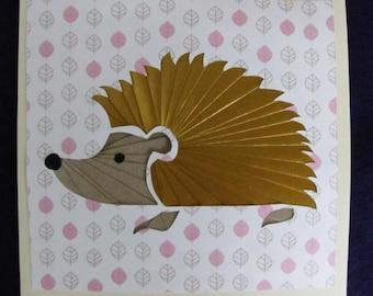 Iris Folded Paper Hedgehog Greeting Card