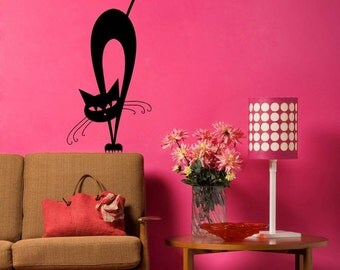 Cat Kitty Meow Cute Black Wall Decal