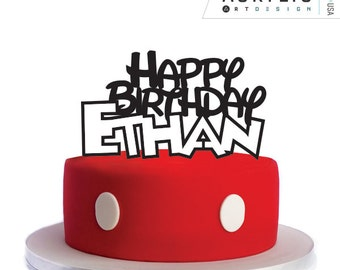 Personalized Happy Birthday Mickey Mouse - Cake Topper by Acrylic Art Design