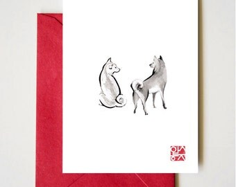 Two Shiba Inu card, Unique Sumi-e Painting, Japanese Cute dog Couple breed Ink Animal Illustration B&W Asia Zen Birthday Poster, July 4th