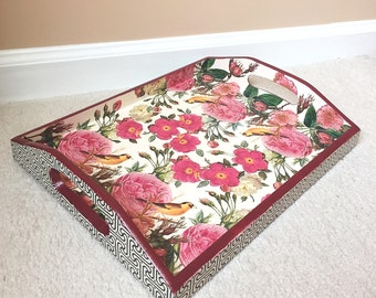 Wooden Tray with Handles, Breakfast Tray, Serving Tray - ROSES AND CANARIES