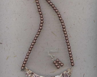 Unusual plate style necklace with gold brown bronze shell like finish and bronze glass pearls with free matching earrings