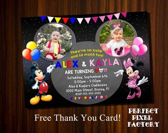 Mickey Mouse Invitations,Sibling Invitations,Mickey and Minnie invitation, Brother and Sister Invitation, Mickey and Minnie Birthday,Sibling