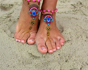 READY TO SHIP Barefoot Sandals Lotos, Anklets, Beach Jewelry, Foot Jewelry, Yoga Wedding