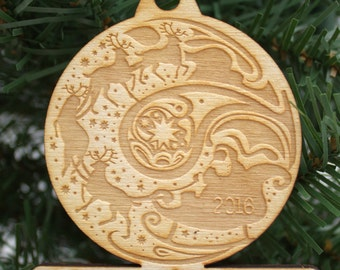 Personalized Santa and Reindeer Engraved Wooden Christmas Ornament