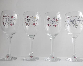 Hand made Mothers' Day glasses, decorated with Swarovski crystals.
