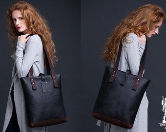 Black Brown Leather Tote Bag / Women Handbag / Genuine Leather Shopper Bag / Leather Handbag / Leather Ladies Shoulder Bag