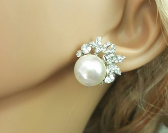 Bridal Wedding Studs, Clip Ons Available, Pearl Studs with Cubic Zirconia Accents, Bridal Earring, Mother of the Bride, Unique Pearl Earring