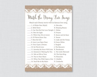 Burlap and Lace Bridal Shower Game - Printable Disney Love Songs Match Game - Rustic Bridal Love Song Game - Burlap Bridal Shower Game 0003