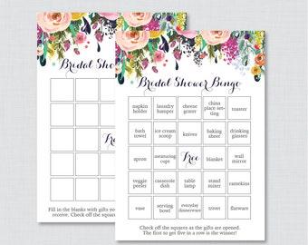 Floral Bridal Shower Bingo Printable - 60 Unique Pre-filled Bingo Cards AND Blank Cards - Flower Garden Bridal Bingo 0002-B