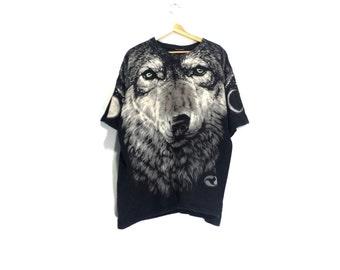 WOLF SHIRT // 90s // Liquid Blue // Wolf // Wolf Shirt // Wolf T-Shirt // 1995 // Wolf T-Shirt // Wolf Shirt // Vintage // Vaporwave