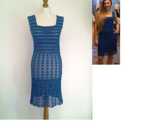 Wonderful handmade crochet dress  100% cotton  size M ready to ship