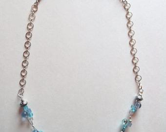 Necklace 3 Strand in bluish shades