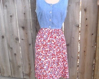Vintage 90's Dress Grunge Denim Jean Floral Flowers 90210 Sleeveless Vest Medium Large