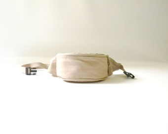 Cream Leather Fanny Pack